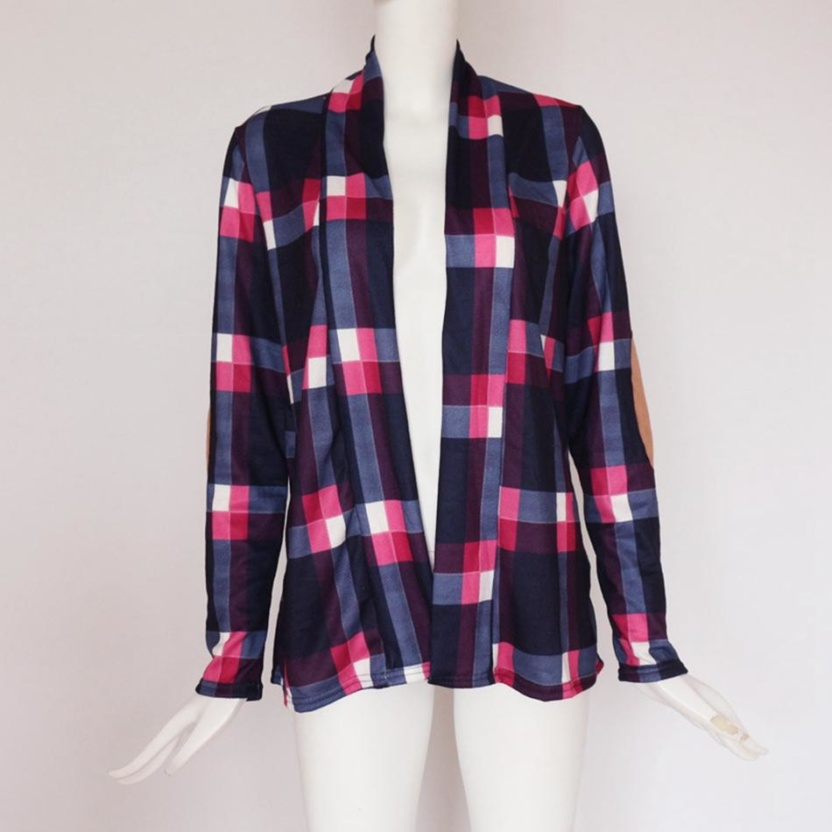 Casual plaid print kimono cardigan top with open front and elbow patch blue pink front