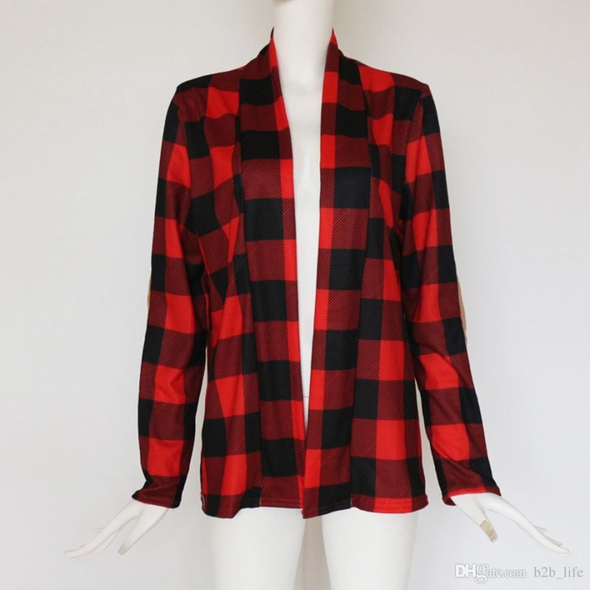 Casual plaid print kimono cardigan top with open front and elbow patch red black
