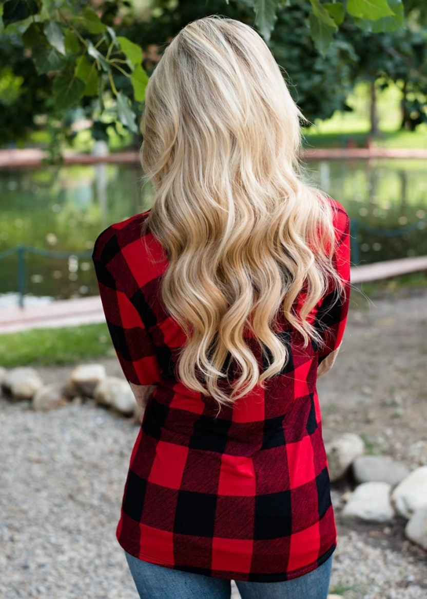 Casual plaid print kimono cardigan top with open front and elbow patch red black back