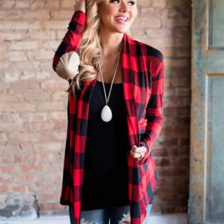 Casual plaid print kimono cardigan top with open front and elbow patch red black front