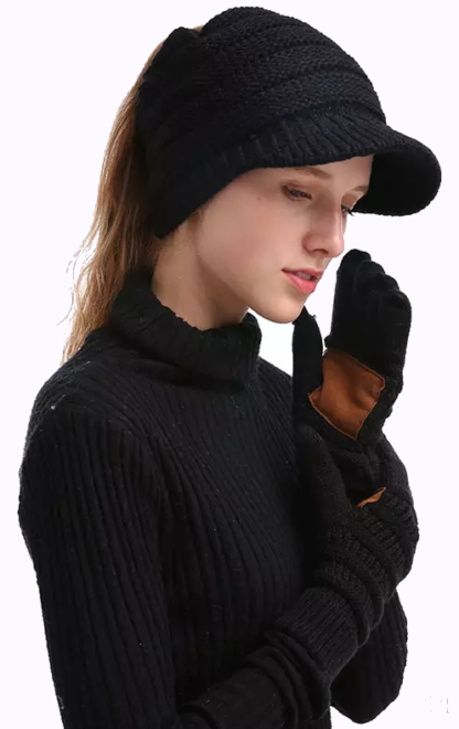 CC Knitted touch screen capacitive gloves with faux leather palm pad - black