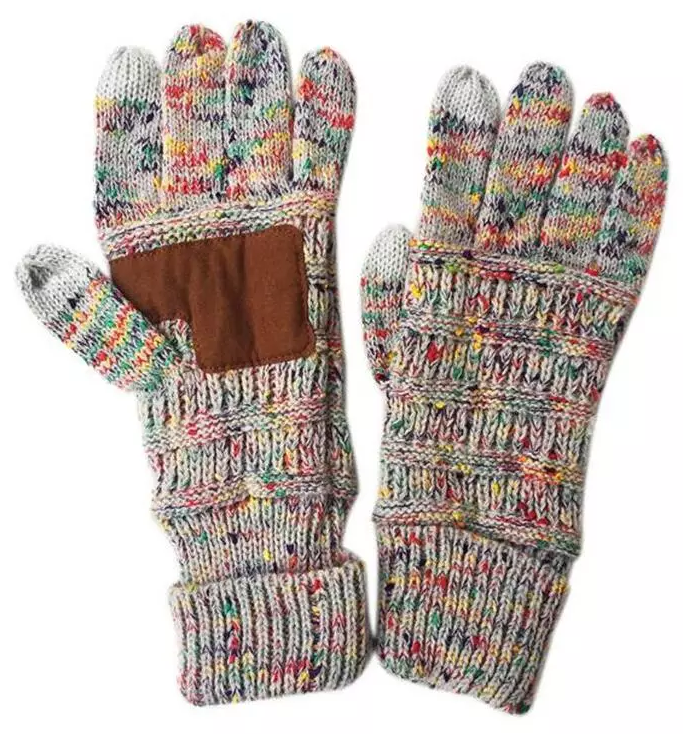 CC Knitted touch screen capacitive gloves with faux leather palm pad - gray sparkles
