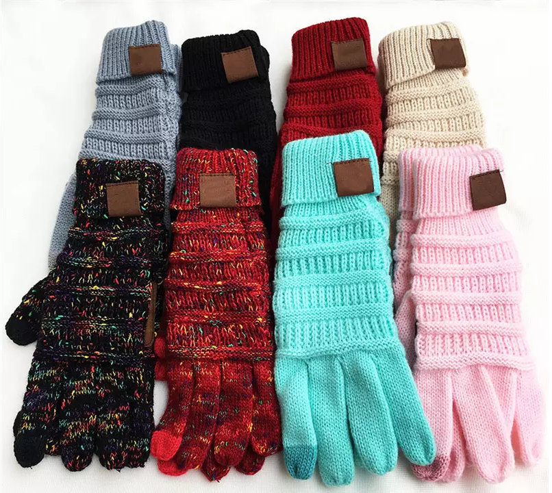 CC Knitted touch screen capacitive gloves with faux leather palm pad