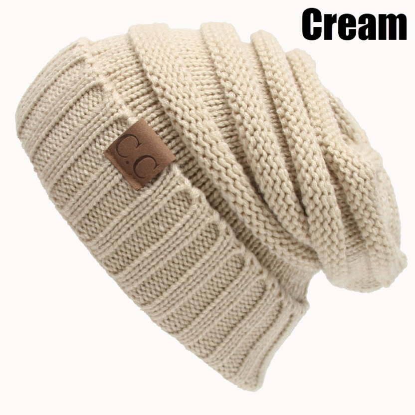 CC Oversized Chunky Skull cable knitted crochet hat cream color