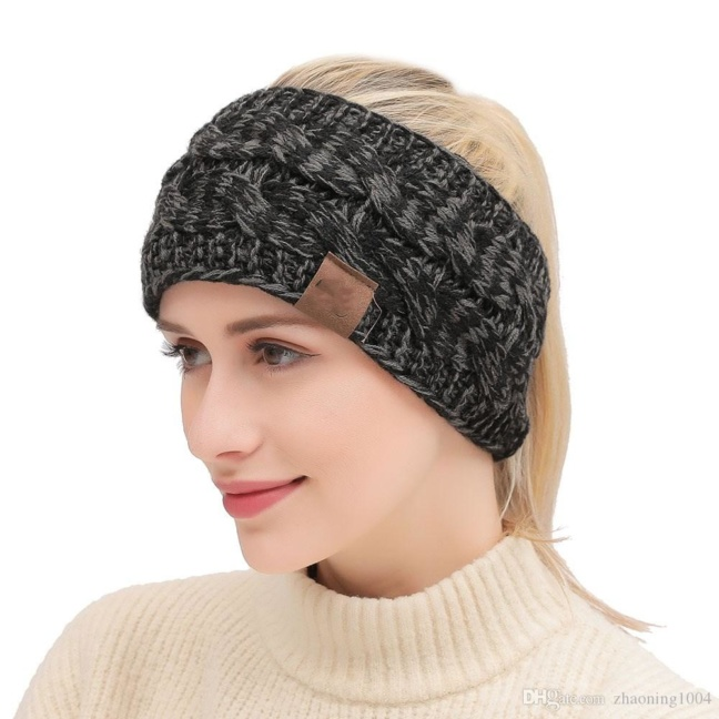 CC soft stretch winter cable knit fuzzy lined ear warmer headband worn