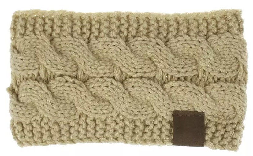 CC soft stretch winter cable knit fuzzy lined ear warmer headband