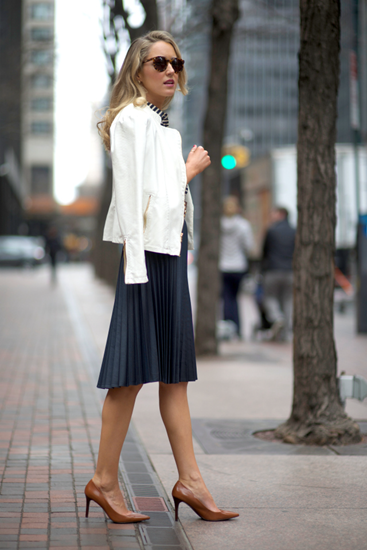 Black muted pleated outfit with white jacket