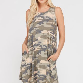 Camouflage print sleeveless dress with side pockets