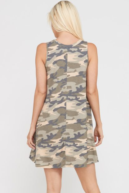 Camouflage print sleeveless dress with side pockets back