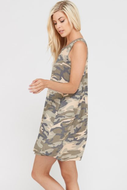 Camouflage print sleeveless dress with side pockets side