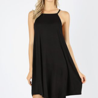 Casual high neck dropped armhole swing dress black