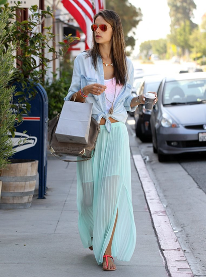 Casual look with sheer pleated maxi skirt with sandals and accessories