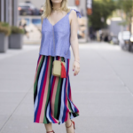 Colorful striped pleated skirt with lavender top