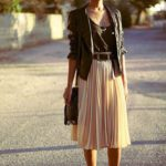 Edgy pleated skirt outfit