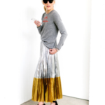 Gold silver pleated maxi skirt with long sleeve tee