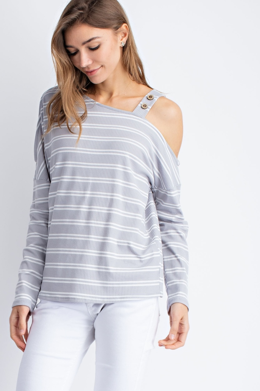 Knitted rib stripe cold shoulder button detail long sleeve top