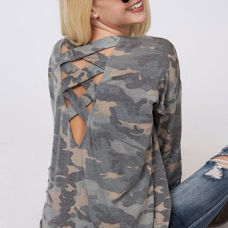 Long Sleeve Camouflage Lattice Cross Strap Back Top