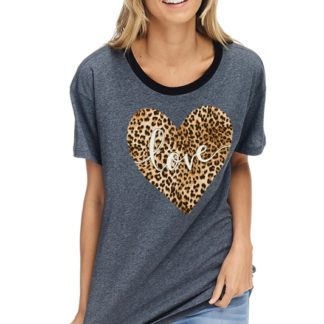 Love leopard Valentine graphic top charcoal
