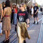 Metallic gold pleated skirt with T-Shirt combat boots