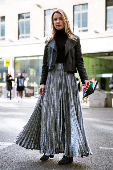 Metallic silver pleated maxi skirt paired with tucked in turtleneck