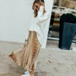 Pleated skirt with sneakers