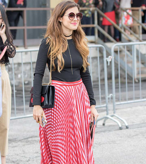 Red and white striped pleated skirt with black top