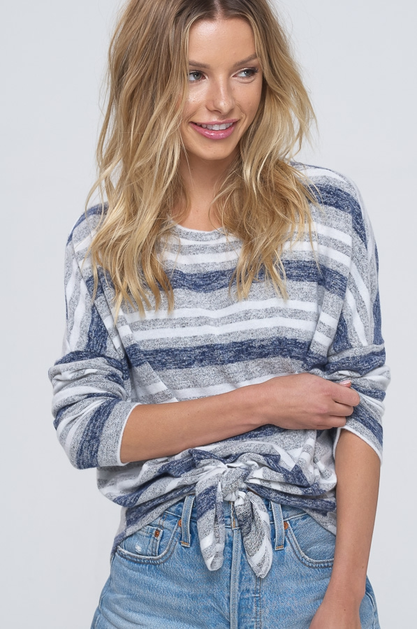 Soft heather striped sweater top with dolman sleeves tie closure in front