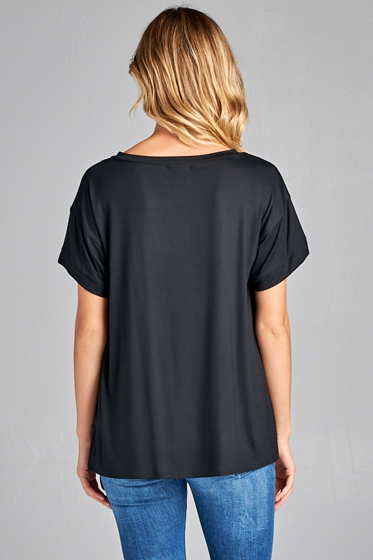 Ultra soft sequin pocket short sleeve V-neck top black back