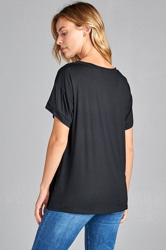 Ultra soft sequin pocket short sleeve V-neck top black side