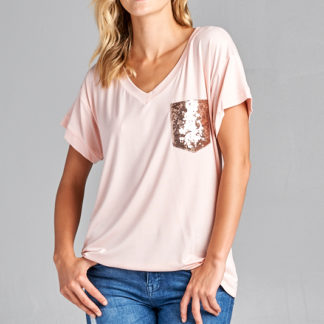 Ultra soft sequin pocket short sleeve V-neck top blush front