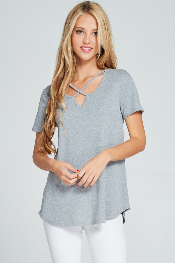 Criss-cross V-neck ribbed short-sleeve top heather gray