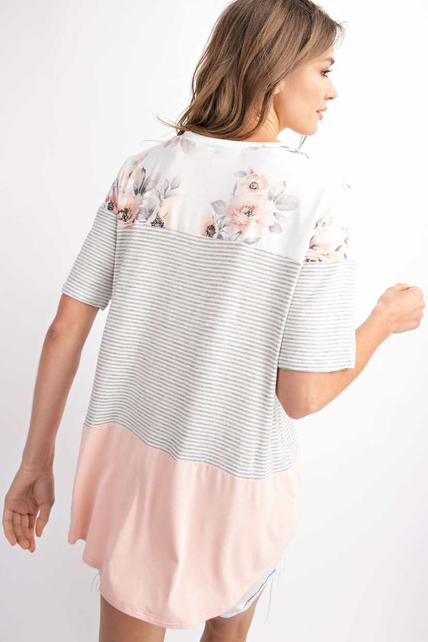 Floral french terry color block top - back2