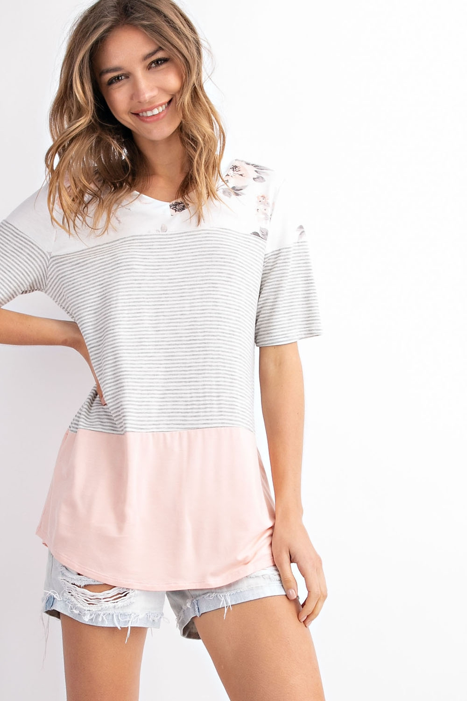 7457a442c992f8 Floral french terry color block V-neck short sleeve top - Ivy and ...