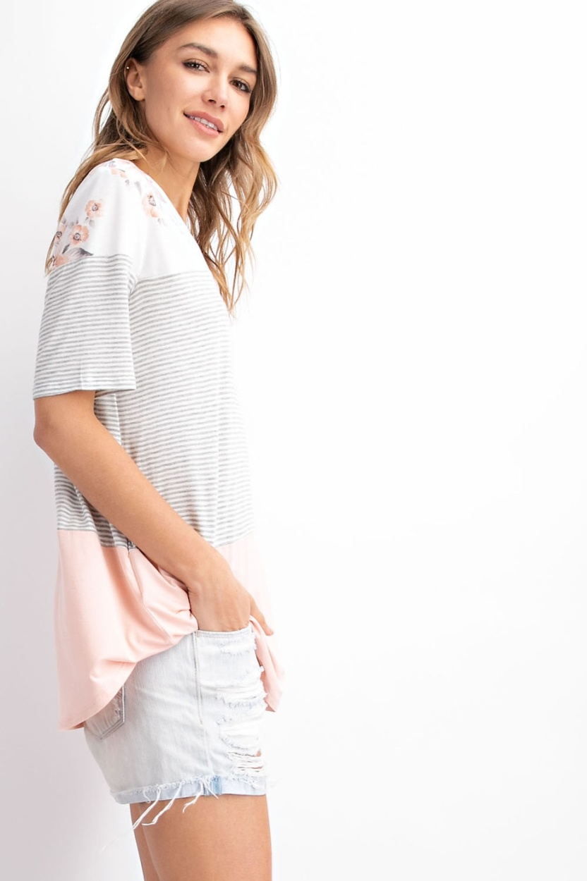 Floral french terry color block top - side2