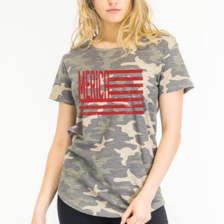 Merica flag cammo washed fit T-shirt red