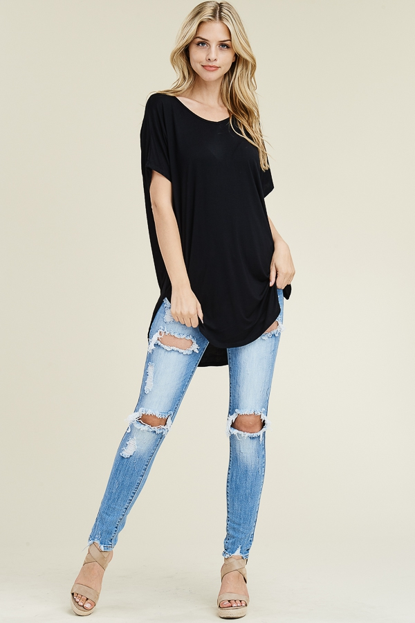 Short sleeve V-neck casual tunic round hemline