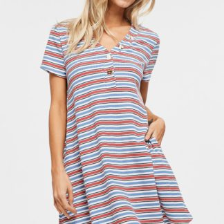 Striped shift dress V-neck faux-button pockets front 3