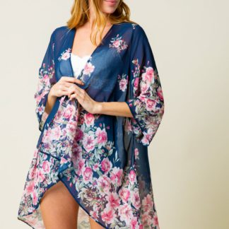 Chiffon cardigan kimono all-over floral front med