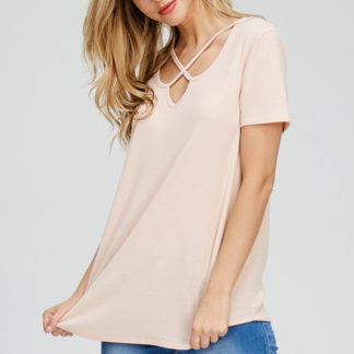 Criss-cross front V-neck ribbed short-sleeve top blush