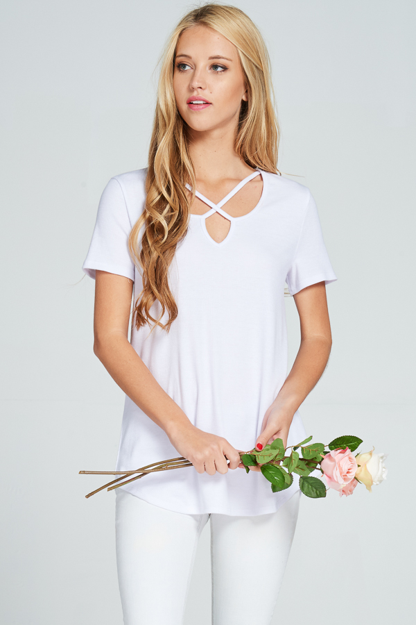 Criss-cross front V-neck ribbed short-sleeve top white