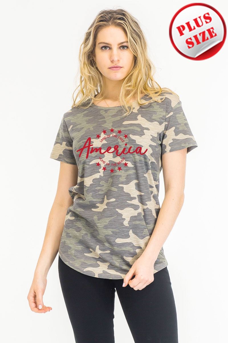 Home of the Brave Camo T-shirt red