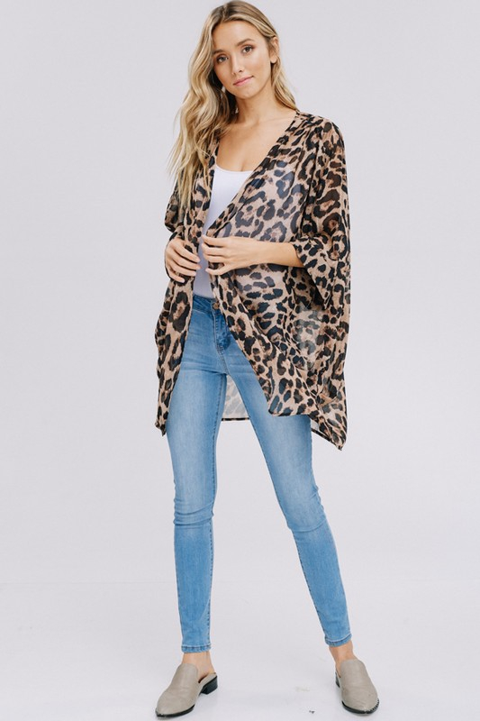 Three-quarter sleeve animal chiffon kimono front full