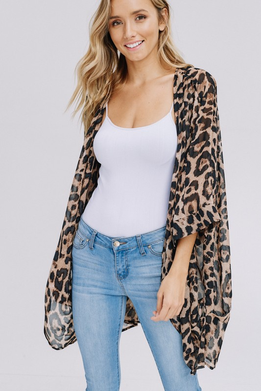 Three-quarter sleeve animal chiffon kimono front