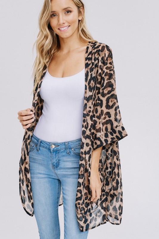 Three-quarter sleeve animal chiffon kimono front2