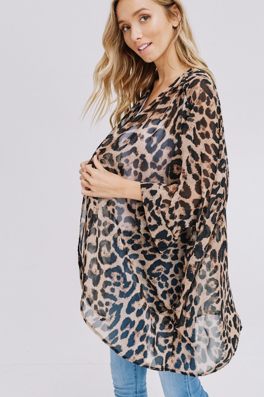 Three-quarter sleeve animal chiffon kimono side2
