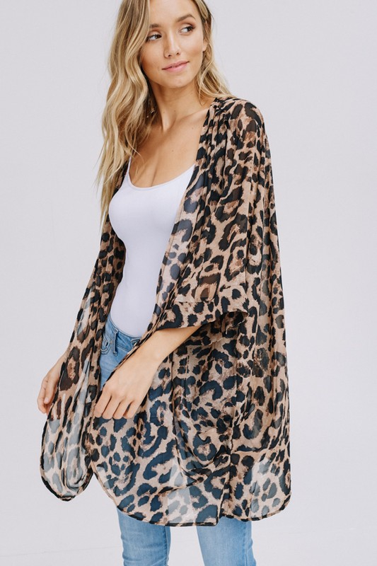 Three-quarter sleeve animal chiffon kimono side3