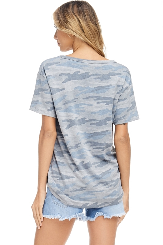 USA stars stripes V-neck top blue back