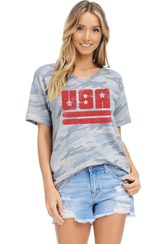 USA stars stripes V-neck top blue front