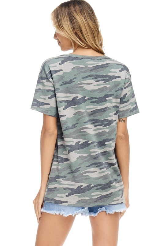 USA stars stripes V-neck top green back