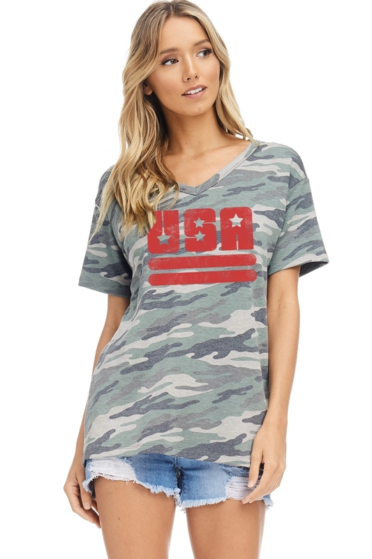USA stars stripes V-neck top green front